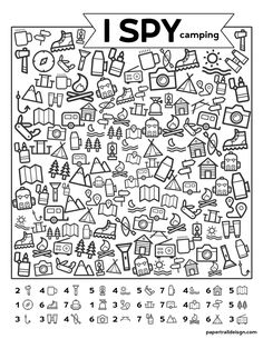 Free Printable I Spy Camping Kids Activity - Paper Trail Design - Free Printabl. - Free Printable I Spy Camping Kids Activity – Paper Trail Design – Free Printable I Spy Camping - Camping Activities For Kids, Camping With Kids, Learning Activities, Camping Ideas, Camping Recipes, Visual Motor Activities, Health Activities, Back To School Activities, Indoor Activities