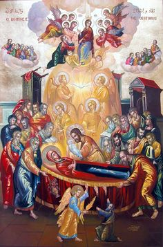 The Dormition of our Lady, Virgin Mary Religious Symbols, Religious Images, Religious Art, Byzantine Icons, Byzantine Art, Church Icon, Christian Pictures, Mary And Jesus, Holy Mary