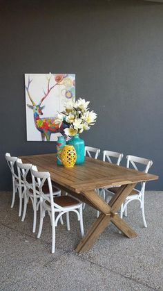 Recycled Teak Table With 6 X White Elm Wood Cross Back Dining Chairs