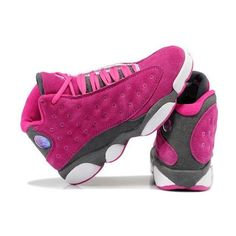 Girls Air Jordan 13 Retro Suede Pink Gray For Sale New Jordans For... ❤ liked on Polyvore featuring nike