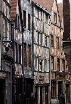 la rue dite des antiquaires à Rouen - France