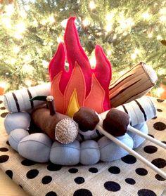 Campfire Toy Handmade Felt Pretend Flame Rocks by HopewellCreek