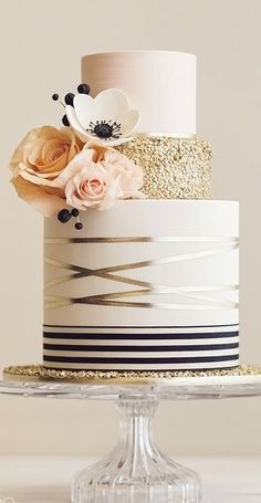 Gold Wedding Cakes - [tps_header]Looking for a color palette that is modern yet still feminine? Say hi to my navy, blush, Beautiful Wedding Cakes, Gorgeous Cakes, Pretty Cakes, Cute Cakes, Amazing Cakes, Modern Wedding Cakes, Modern Birthday Cakes, White And Gold Wedding Cake, Cute Birthday Cakes