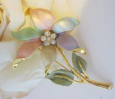 Vintage Pastel Enamel Rhinestone Flower Pin