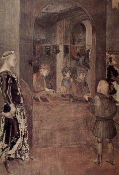 Сиена. палаццо пубблико. Лоренцетти, Амброджо Цикл фресок Аллегории хорошего и дурного правления в зале Совета девяти (Палаццо Пубблико, Сиена). Последствия хорошего правления для горожан. Фрагмент. Мастерская (ремесла), 1338-1340, Фреска