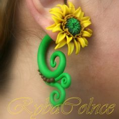 Fake ear  gauge The Flowers Sunflower by RybaColnce on Etsy