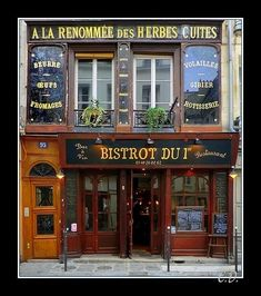 This photo from Ile-de-France, Nord is titled 'Les herbes cuites ! Restaurant Paris, Paris Cafe, French Cafe, French Bistro, City Magazine, Shop Facade, Shopping Street, Shopping Travel, Beautiful Streets