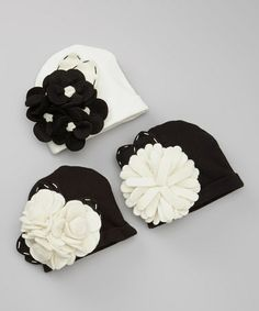 Look what I found on #zulily! White & Black Felt Flower Beanie Set #zulilyfinds