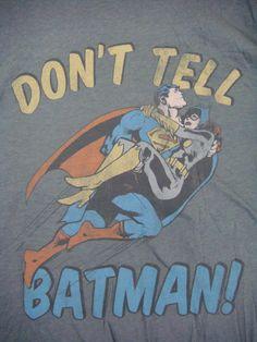 Rare DC Comics JUNK FOOD Don't Tell Batman Shirt Superman Catwoman NEW OOP HTF