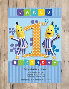 Bananas in Pyjamas Party Invitation by FlurgDesigns on Etsy, £5.00