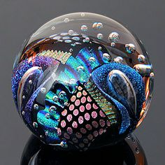 oblique view; dichroic glass sphere, by Ron Schuster