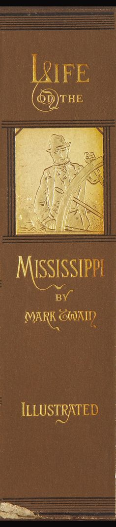 "40"" long x 10"" wide for those thin spaces in your decor! Mark Twain Life on the Mississippi, enlarged book spine, framed in thin vintage gold leaf frame. Made in USA by MUSEUM OUTLETS  #wallart  #bookspines  #vintageframe  #madeinusa  #marktwain  #mississippi  #bookart"