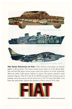 1961 Fiat Ad - 1960's Land Sea Air Advertisement - 60's Vintage Wall Art - Print Decor - Men's Wall Decor - Fiat Cars - Fiat Jet Fighter