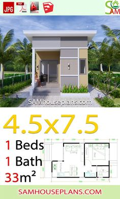 Tiny House Plans 838795499333895679 - Small House Plans with One Bedroom Shed roof – Sam House Plans Source by samphoasdesign Small House Layout, Modern Small House Design, House Front Design, Tiny House Design, Micro House Plans, Small House Floor Plans, Home Design Floor Plans, One Bedroom House Plans, Cottage House Plans