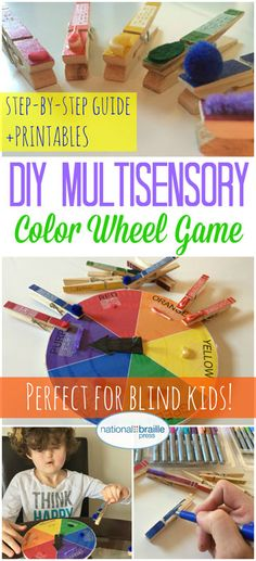 Introduce colors to your blind child with this fun game that incorporates tactile objects, braille and social play!Tap the link to check out great fidgets and sensory toys. Check back often for sales and new items. Happy Hands make Happy People! Special Education Activities, Sensory Activities, Educational Activities, Preschool Activities, Sensory Toys, Visually Impaired Activities, Multiple Disabilities, Learning Disabilities, Child Life