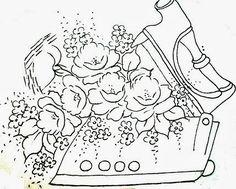 desenho de ferro de passar com rosas para pintura em tecido