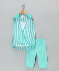 Take a look at this Seafoam Stripe Layered Tank & Capri Pants - Toddler & Girls by Candy Girl on #zulily today!