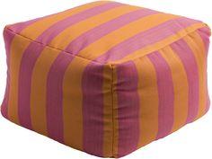 Finn Striped Pink/Orange Cube Pouf
