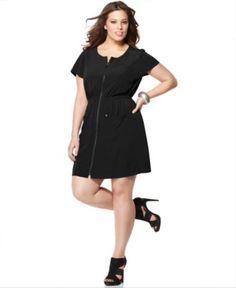 Short Sleeve Zip Front Dress  Only@Macys  Now $19.99
