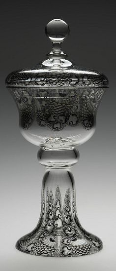 Karl Massanetz, Goblet, 1914, cristallglass, ink drawing with gold, Kamenicky Senov (Steinschoenaunau)