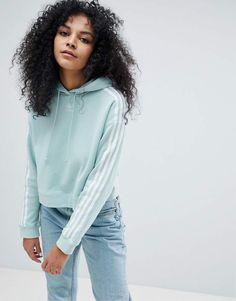 Adidas adidas Originals adicolor Three Stripe Cropped Hoodie In Mint #adidas #adidasoriginals #fashion #sportswear