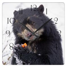 Personalized custom photo puppy dog birthday party napkin spectacled bear square wall clock portrait gifts cyo diy personalize custom negle Gallery