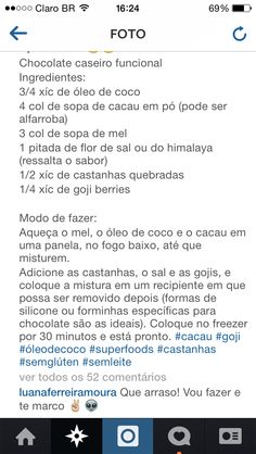 Receita chocolate caseiro funcional