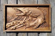 Lucio pescado tallado madera tallada náutica colgante casa