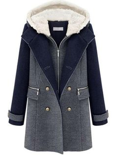 Specification Style:Casual,Elegant,Silm Color:Dark Blue Material:Polyester,Woolen Pattern:Patchwork Size:S,M,L,XL,XXL Collar:Hooded Season:Fall,Winter Item Type