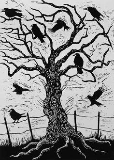 Morley, Nat  : Rook Tree, 1999 (woodcut)