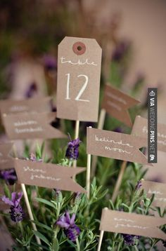 Table numbers and place cards