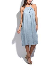 Sky Blue Linen Sleeveless Dress - Plus Too