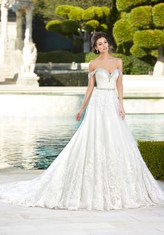 Sweetheart Lace Ball Gown with Beaded Off-the-Shoulder Straps | Ivoire by Kitty Chen Tabitha V1611 | http://trib.al/GcFK6lf