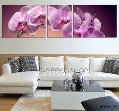 3 Panels Art Canvas Print Orchid Flowers - Orchids Canvas Printing