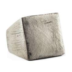 Silver Ring Men Matte Oxidized Rustic Square Personalized