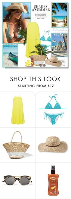 """""""Shades of summer!!"""" by lilly-2711 ❤ liked on Polyvore featuring Polo Ralph Lauren, OndadeMar, La Ligne, L.L.Bean, Illesteva, Hawaiian Tropic and Versace"""
