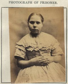 """Margaret Cosh  by Tyne & Wear Archives & Museums, via Flickr    Margaret Cosh was convicted of stealing a coat, she had no previous convictions and served 2 months with hard labour.    Age (on discharge): 15  Height: 4'9""""  Hair: Brown  Eyes: Blue  Place of Birth: Newcastle  Status: Single  Occupation: None    These photographs are of convicted criminals in Newcastle between 1871 - 1873."""