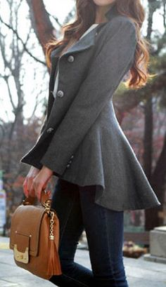 Asymmetric Fit-and-flare Blazer in Grey