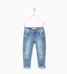 Afbeelding 1 van Denim broek met geborduurde margrieten van Zara