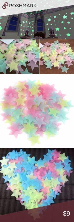 NEW Rainbow Glow in the Dark Stars (100 pieces!) ❤️ Cute plastic rainbow glow-in-the-dark stars ❤️ 100 stars total. Sticks with individual tape adhesives (last photo shows the tape adhesives) ❤️ Feel free to ask questions. Tagged for exposure. :) ❤️ Bundle 2 or more items from my closet and get 10% off! Free shipping for all items after the first!  Keywords: 3D Stars, Glow In Dark, Luminous, Fluorescent, Wall Stickers, Home Decor, Room, Wall Decal, Wallpaper, Decorative, Decoration, Shiny…