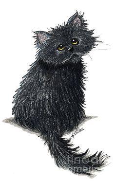 Black Persian cat art © Kim Niles (aka KiniArt) - All Rights Reserved.