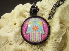 Glass pendant hamsa image colorful black by TashinkasTalismans