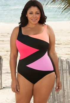 Beach Belle Intensity Plus Size Tricolor Spliced Swimsuit From The Plus Size Fashion Community At www.VintageAndCurvy.com