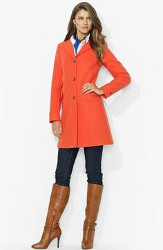 Lauren Ralph Lauren Twill Coat available at #Nordstrom-$227.80 ~ Love this coat and color!!