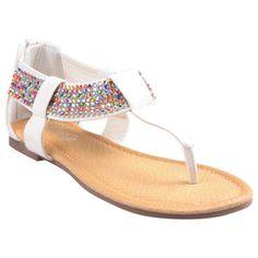 Refresh by Beston Women's 'Maddy' White Gladiator Rhinestone Thong Sandals