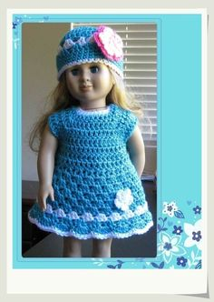 Pattern in PDF -- crocheted doll clothes dress for American Girl, Gotz or similar 18 inches dolls  (Doll Dress 7)
