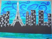 Van Gogh Skyline- use photo of our church or school in foreground. Paint starry night background.