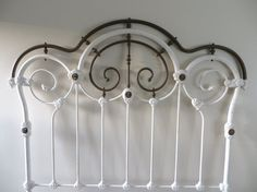 Antique Cast Iron and Brass Headboard Full Size by SoulfulVintage Rustic Cottage, Cottage Style, Brass Headboard, Scroll Design, Mid Century Furniture, Rustic Design, Cast Iron, Old Things, Ceiling Lights
