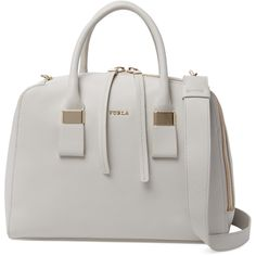 Furla Twiggy Medium Satchel (400 CAD) ❤ liked on Polyvore featuring bags, handbags, white leather purse, white purse, leather strap purse, furla purses and white leather handbags