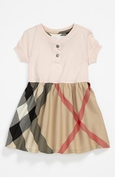 Infant Girl's Burberry Short Sleeve Cotton Dress